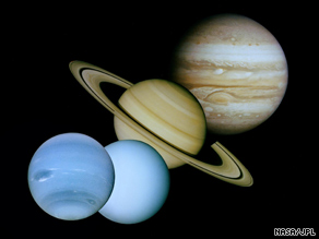 This montage of images taken by Voyager shows, from left to right, Neptune, Uranus, Saturn and Jupiter.