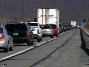 Traffic is backed up Saturday after a truck spilled hydrofluoric acid in eastern Pennsylvania.