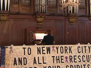 Organist Marilyn Haskel rehearses for Easter services at St. Paul's Chapel in New York.