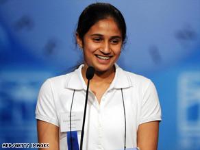 Kavya Shivashankar of Olathe, Kansas, reacts to winning the Scripps National Spelling Bee on Thursday night.