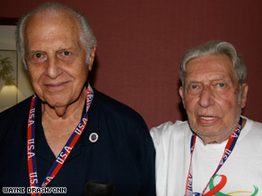 Sidney Lispson, left, and Samuel Fahrer meet for the first time in 64 years. They were in a Nazi slave labor camp.