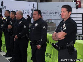 Police gather Tuesday morning in Los Angeles for Michael Jackson's public memorial.