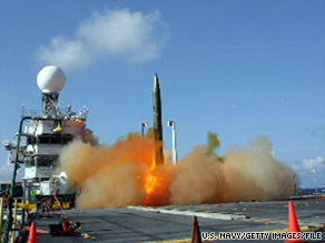A dummy missile is launched from a ship during a 2008 test of the Aegis Ballistic Missile Defense Program.