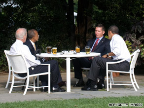 Sgt. James Crowley and professor Henry Louis Gates Jr. sit for beers with the president and vice president Thursday.