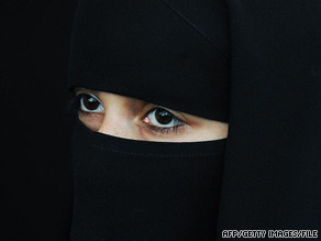 A niqab is a garment that covers the entire face and head, except for the eyes.