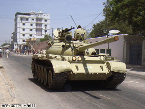 Ugandan tanks from the African Union Mission to Somalia  patrol the streets of Mogadishu this month.