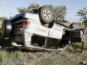 The vehicle the couple were traveling in was left overturned off the highway.