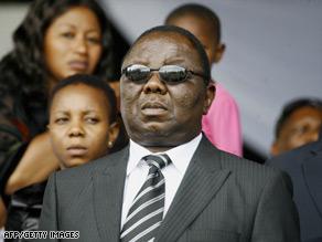 Morgan Tsvangirai attends his wife's public funeral at Glamis Stadium in Harare.