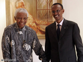 Rwandan President Paul Kagame, right, meets with former South Africa President Nelson Mandela in March.