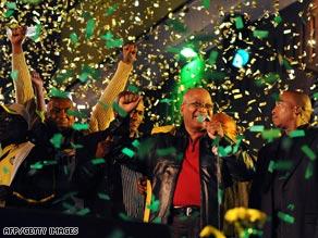 ANC leader Jacob Zuma addresses supporters in Johannesburg on Thursday.