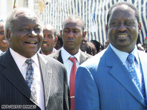 Kenyan President Mwai Kibaki, left, is all smiles with PM Raila Odinga during last year's swearing-in ceremony but since then  relations have soured.