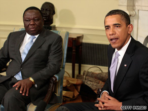 President Obama (right) praised Zimbabwe Prime Minister Morgan Tsvangirai at the White House on Friday.