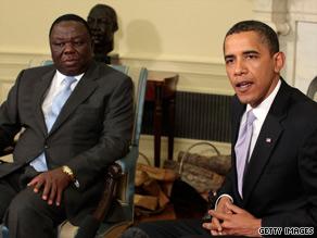 President Obama (right) praised Zimbabwe Prime Minister Morgan Tsvangirai at the White House on Friday.