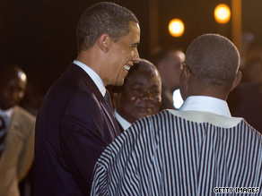 Local dignitaries greet President Obama when he arrives in Ghana on Friday.