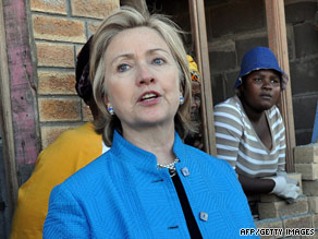 Secretary of State Hillary Clinton is visiting seven African nations. She was in Cape Town, South Africa, August 8.