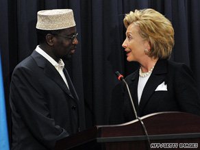 Secretary of State Hillary Clinton has offered aid to Sheikh Sharif Sheikh Ahmed, Somalia's president.