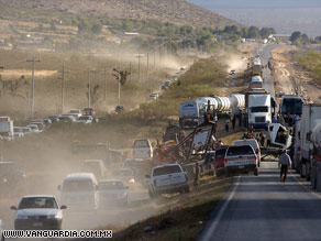 Traffic backs up around the site of the crash near Monterrey, in northeast Mexico.