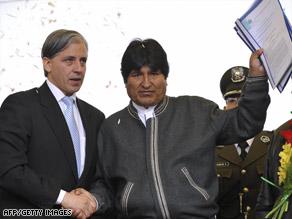 Bolivian Vice President Alvaro Garcia Linera, left, and President Evo Morales appear in La Paz earlier this week.