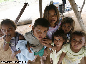 Displaced children at a camp in El Barrancon, Colombia, earlier this year.