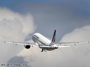 A file photo shows an Air France jet on take off. Some 228 passengers are aboard the missing aircraft.