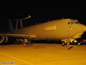 A French AWACS reconnaissance aircraft prepares to leave its Dakar, Senegal base to search the crash zone.