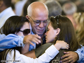 Friends and relatives of the 228 people aboard Air France Flight 447 attend a memorial service Thursday in Brazil.