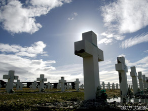 An Argentine war cemetery near Darwin, Falklands. A lawsuit alleges officers killed some soldiers.