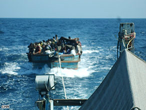 This picture provided to CNN is said to show refugees being towed out to sea by the Thai army.
