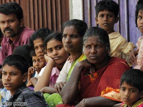 Tamil residents at a protest at which rebels were denounced for allegedly using civilians as human shields.