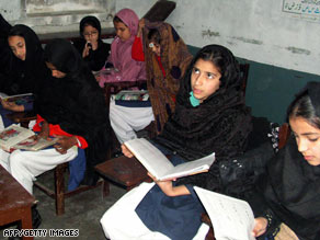 Girls study this week in Pakistan's Swat Valley, where education fhas been an issue in peace talks.