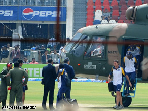 Pakistani air force helicopters evacuated the Sri Lankan cricket team after the attack.