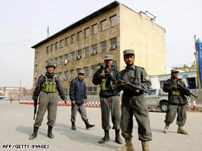 Afghan security forces patrol the streets of Kabul.