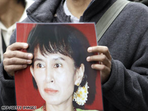 Aung San Suu Kyi is shown on a sign at a protest outside the Myanmar embassy in Tokyo, Japan, earlier in March.
