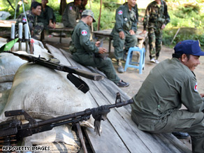 Cambodian troops guard the Preah Vihear temple late last year amid heightened tensions with Thailand.