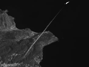 A satellite company says this image was taken shortly after North Korea launched the rocket.