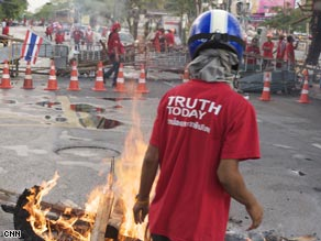 The scene from the streets of Bangkok on Monday showed widespread protests against the government.