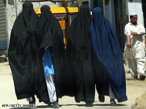 Students in burqas in Buner district.
