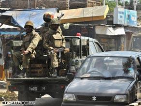 Pakistani soldiers on patrol in Buner district.