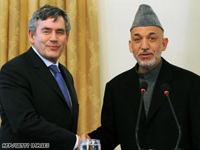 British Prime Minister Gordon Brown met Afghan President Hamid Karzai on Monday.