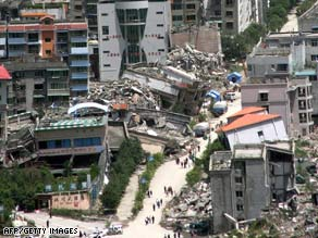 Rubble litters Beichuan, China, nearly a year after an earthquake killed thousands.