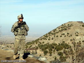 A U.S. soldier on patrol in Khost province in February 2009.