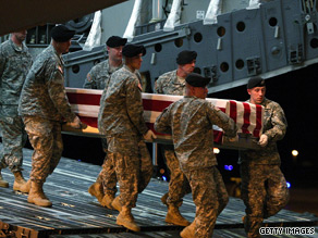 The body of a U.S. soldier killed in Afghanistan arrives in the United States on July 4.