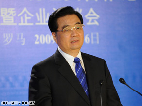 Chinese President Hu Jintao is shown in Rome, Italy, on Monday.