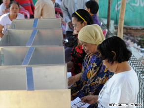 Voters fill in their ballots in Jakarta. More than 170 million people are registered to vote.