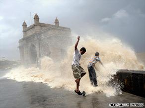 High tides lash the coast near the Gateway of India in Mumbai on Thursday.