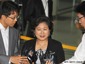Hyundai Group Chairwoman Hyun Jeong-eun arrives at the customs office in Paju, South Korea, on August 10.