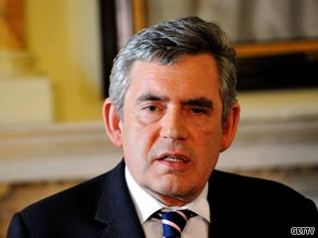 UK Prime Minister Gordon Brown, pictured here earlier this week, returned from Afghanistan Saturday.