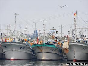 South Korean fishing boats anchored at Geojin port, Goseong, South Korea, August 1.