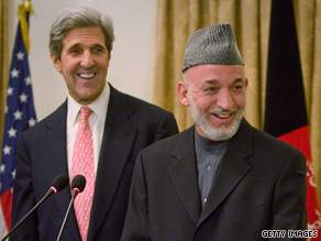 Sen. John Kerry, left, coordinated his discussions with President Hamid Karzai with Washington, sources say.