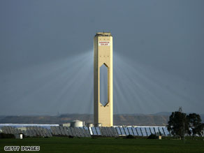 Shining beacon: The concentrated solar power plant in Sanlucar, Spain is the first of its kind.